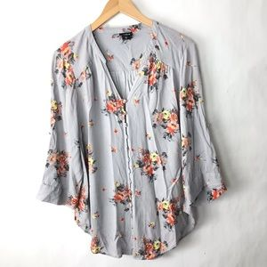 Torrid floral v neck button down blouse Large